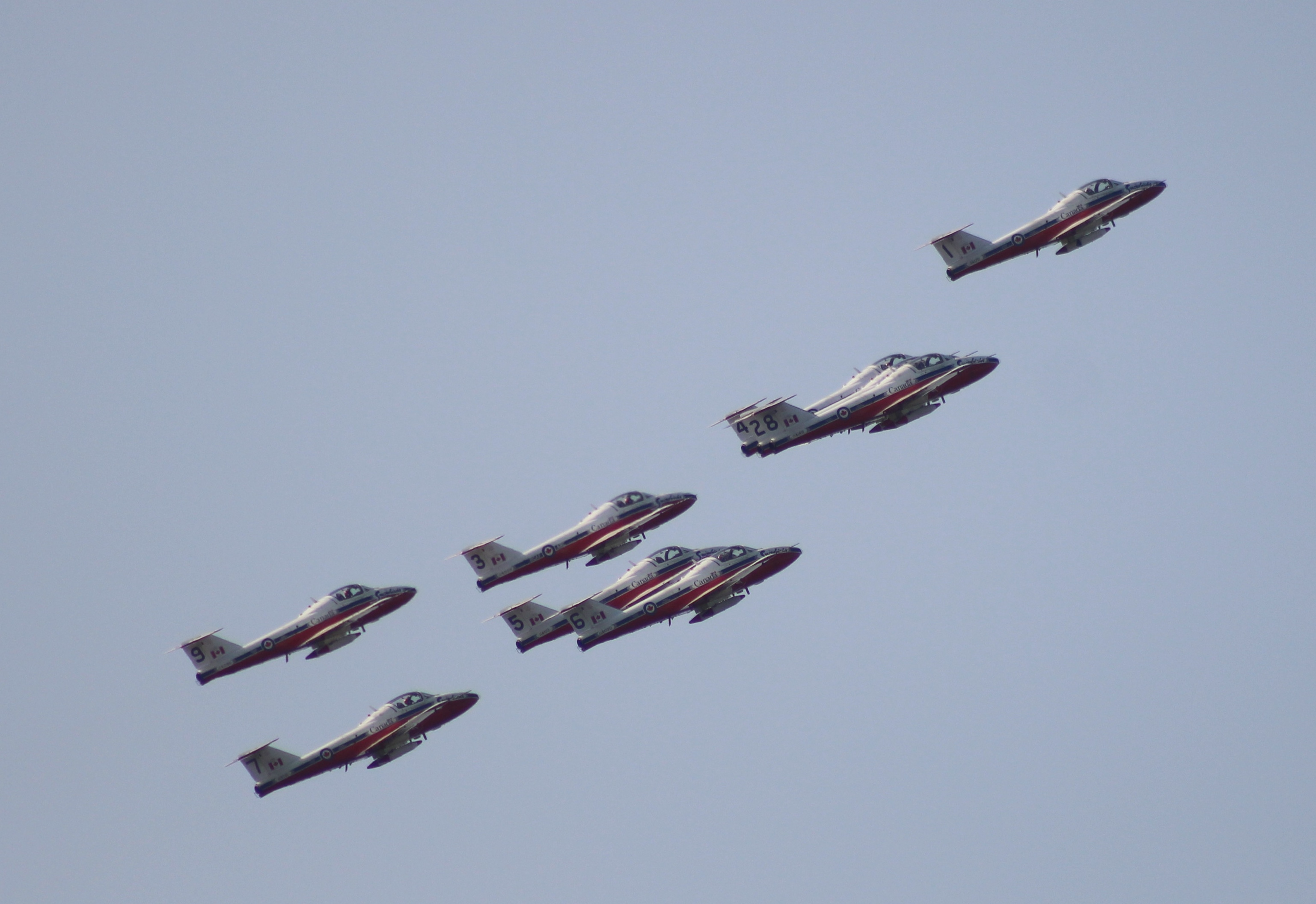 another formation view of the snowbirds
