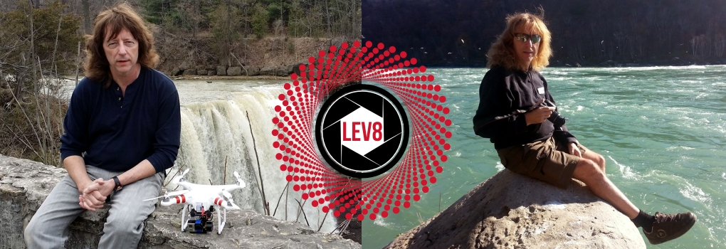 Andy Harris at the falls with drones Lev8 logo