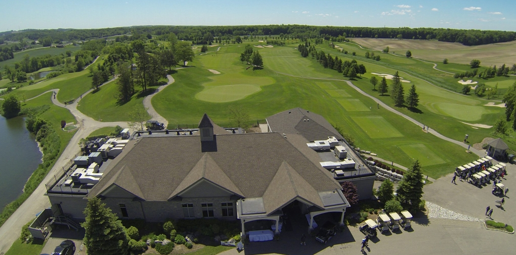 Golf course club house and course aerial photograph