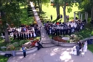 aerial video production niagara parkway wedding